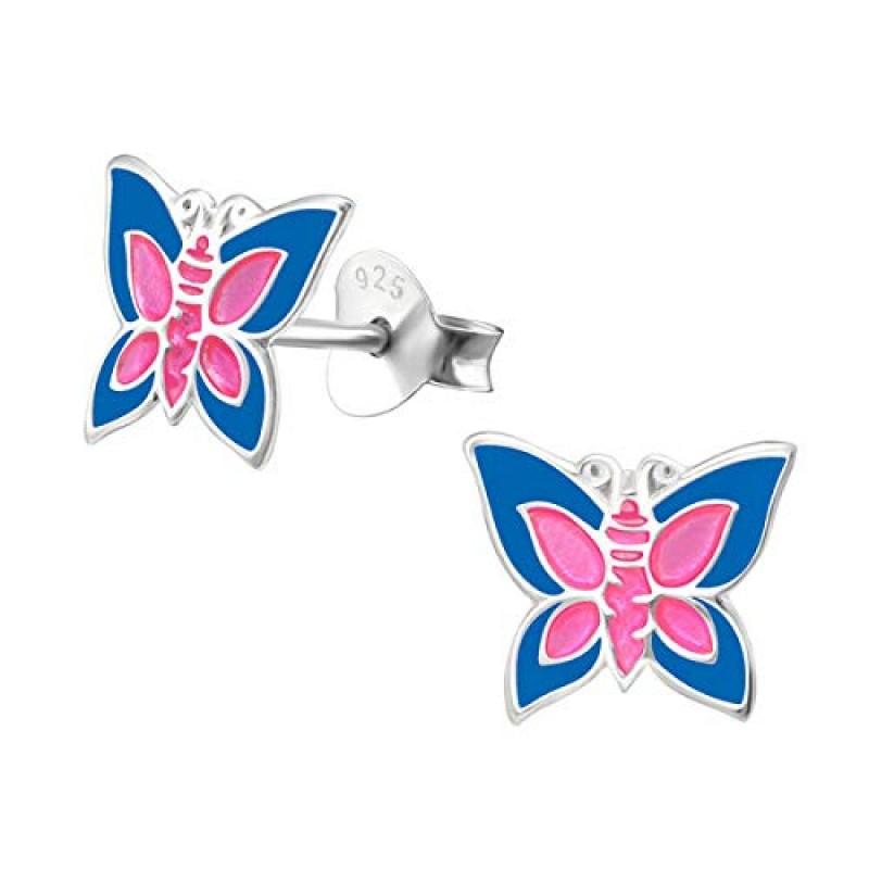 Cute Blue Pink Butterfly Ear Studs