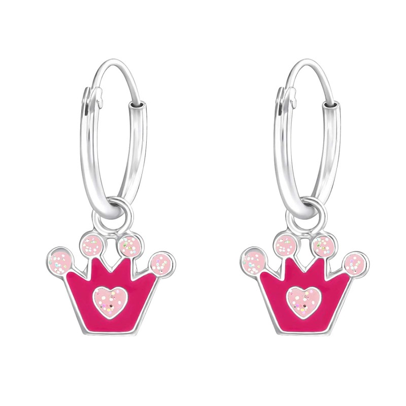 Pinky Princess Crown Hoops