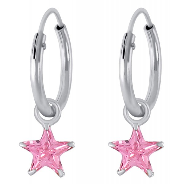 Blush Crystal Star Hoops