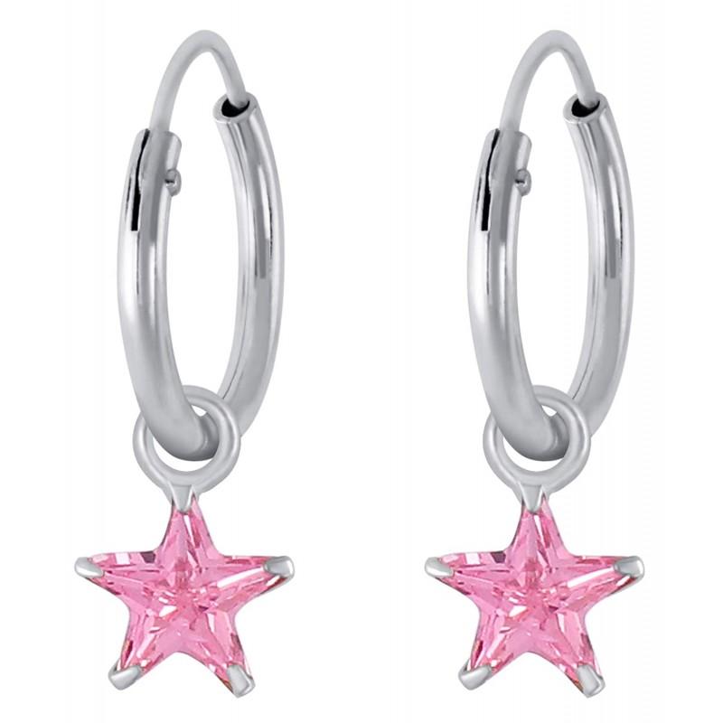 Blush Crystal Star Hoops