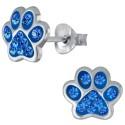 Azure Crystal Paw Ear Studs