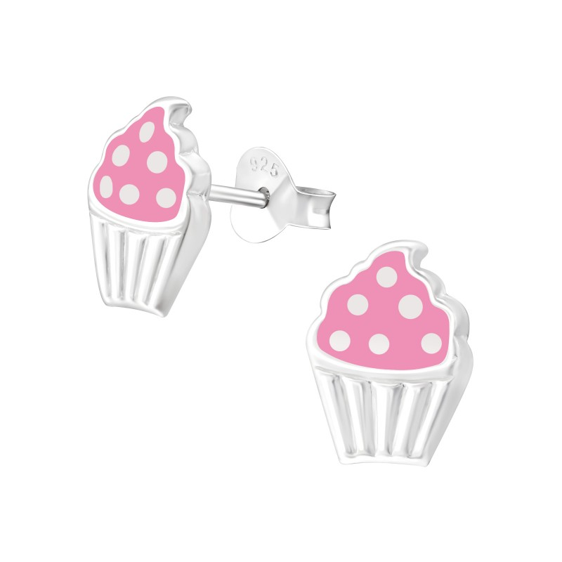 Pink Dotted Cupcake Ear Studs