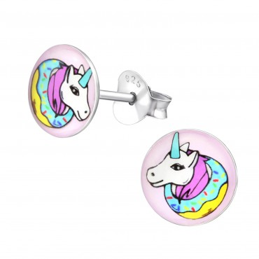 Colorful Unicorn Logo Ear Studs
