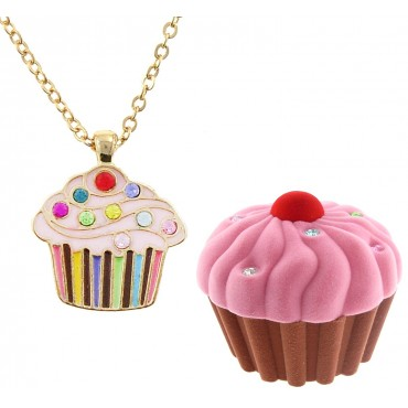 Pink Cupcake Necklace in Cupcake Box