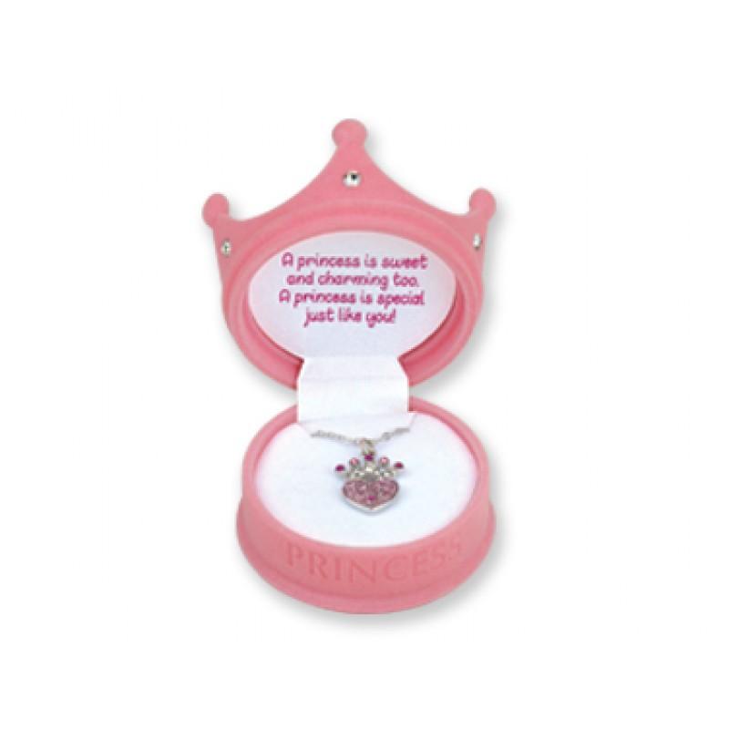 Princess Crown Necklace in Light Pink Princess Box