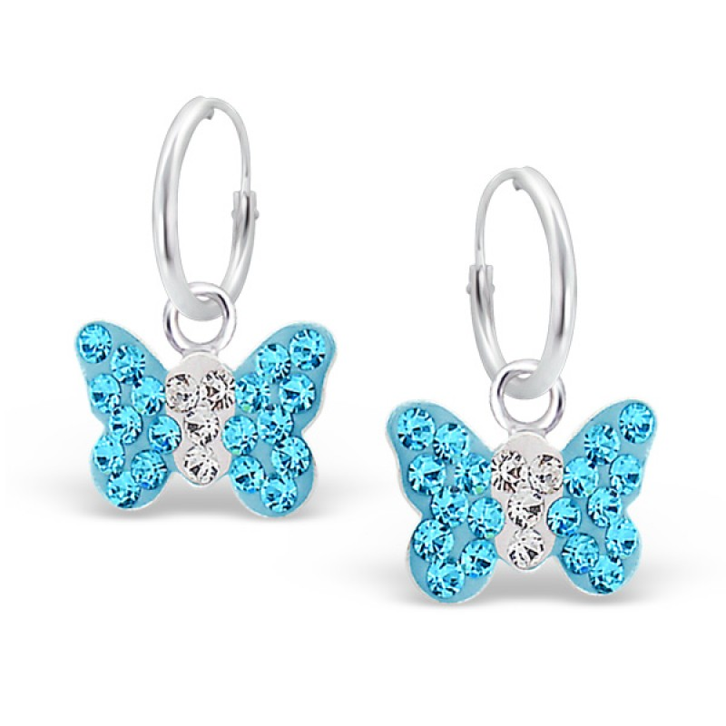 Aqua Crystal Butterfly Hoops