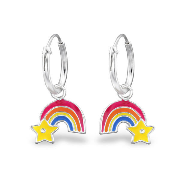 Colorful Rainbow Star Hoops