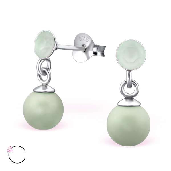 Green Swarovski La Crystale Earrings