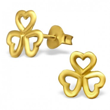 Gold Plated Clover Leaf Ear Studs