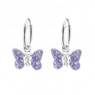 Violet Crystal Butterfly Hoops