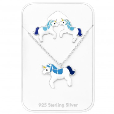 Blue White Unicorn Set