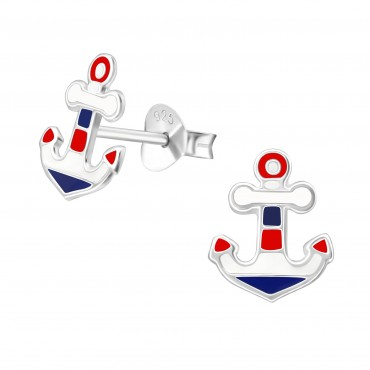 Red Blue Anchor Ear Studs