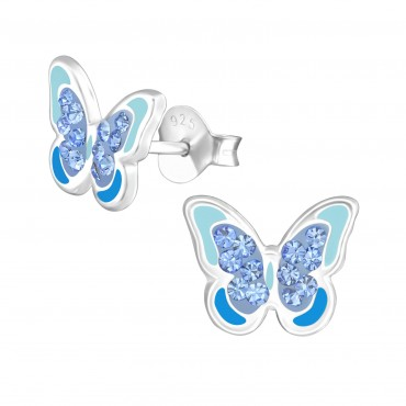 Majestic Aqua Butterfly Crystal Earrings