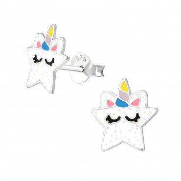 Coy White Unicorn Ear Studs