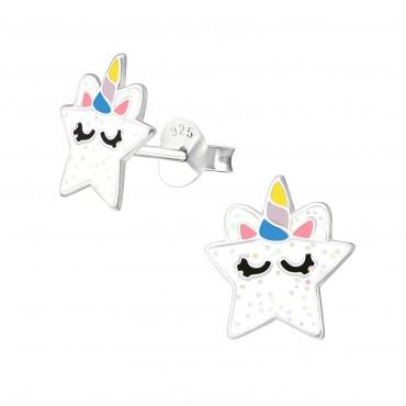 Coy White Unicorn Ear Studs