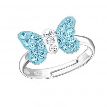 Aqua Crystal Butterfly Ring