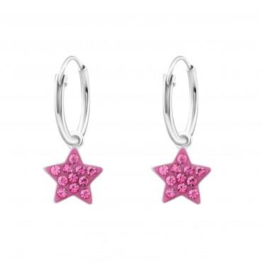 Fuschia Crystal Star Hoops
