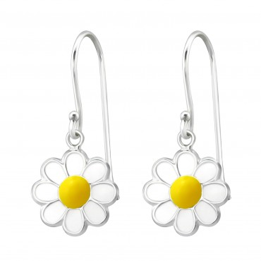 White Yellow Flower Earrings