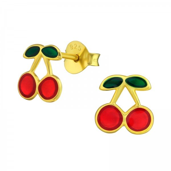Gold Plated Cherry Ear Studs