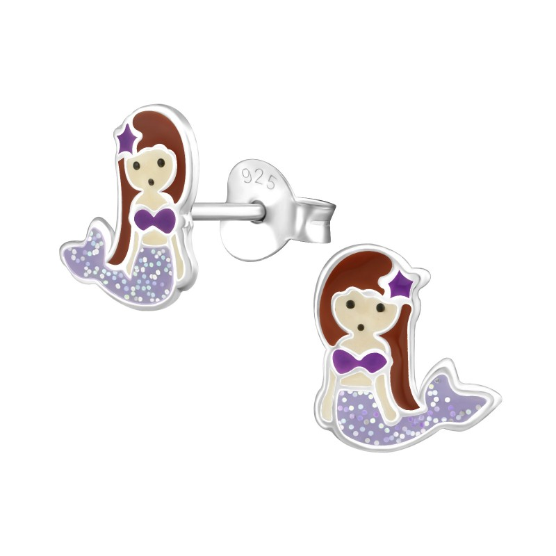 Purple Mermaid Ear Studs