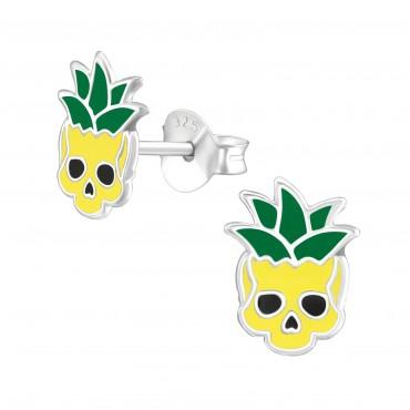 Pineapple Skull Ear Studs