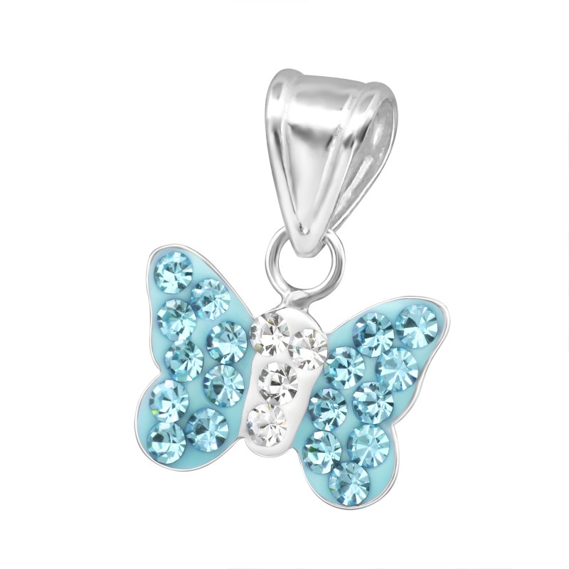 Aqua Butterfly Crystal Pendant