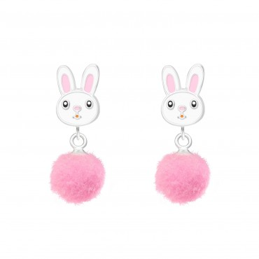 Rabbit with Pom Pom Earrings