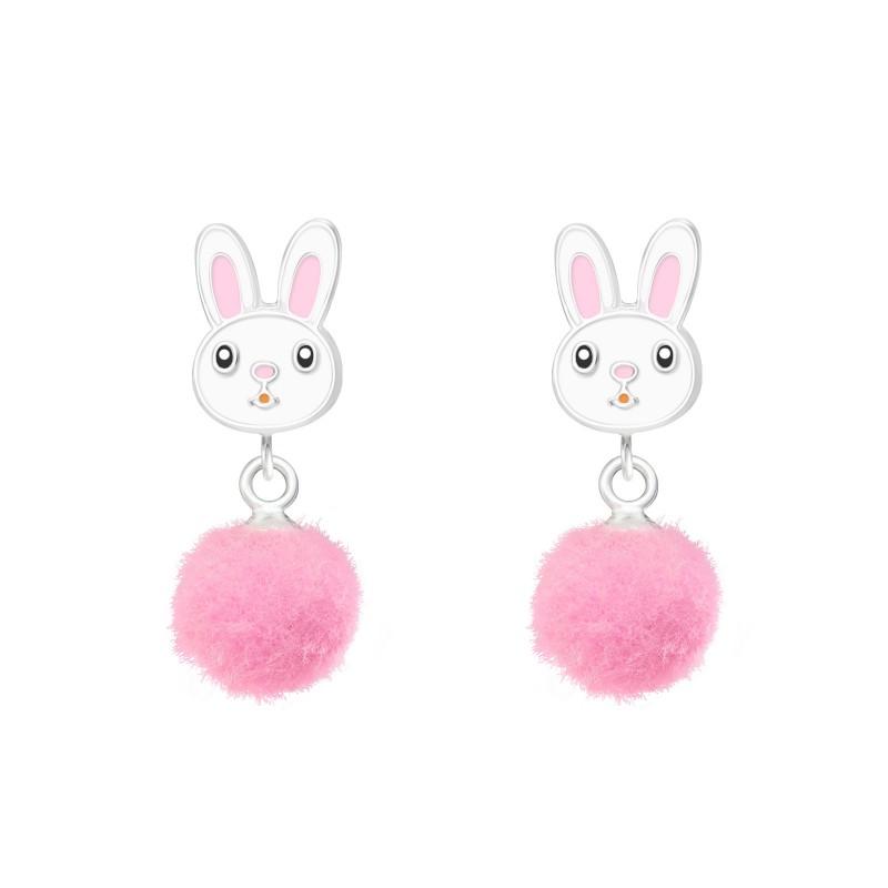 Rabbit with Pom Pom Earrings