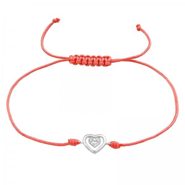 Silver Heart Crystal Corded Bracelet