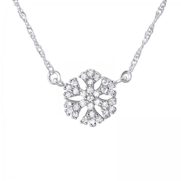 Silver Crystal Snowflake Necklace