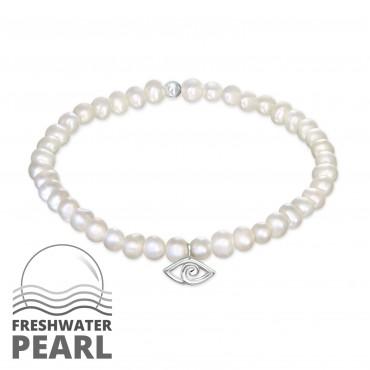 Freshwater Pearl Evil Eye Bracelet