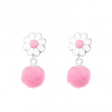 Flower with Pom Pom Earrings