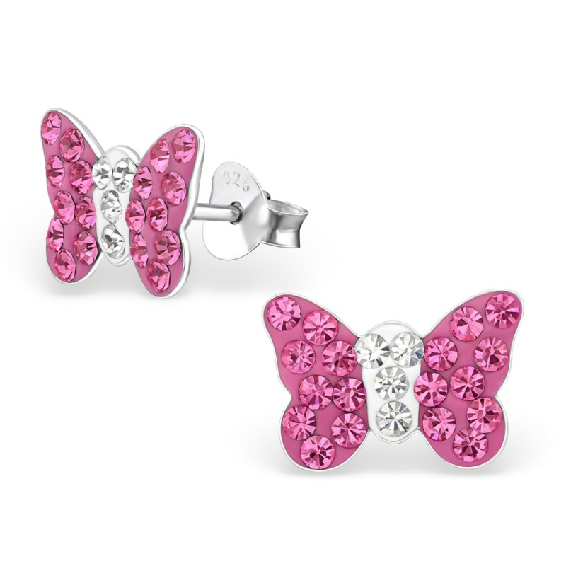 Fuschia Butterfly Crystal Ear Studs