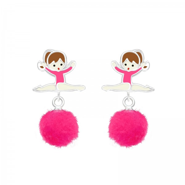 Ballerina with Pom Pom Earrings