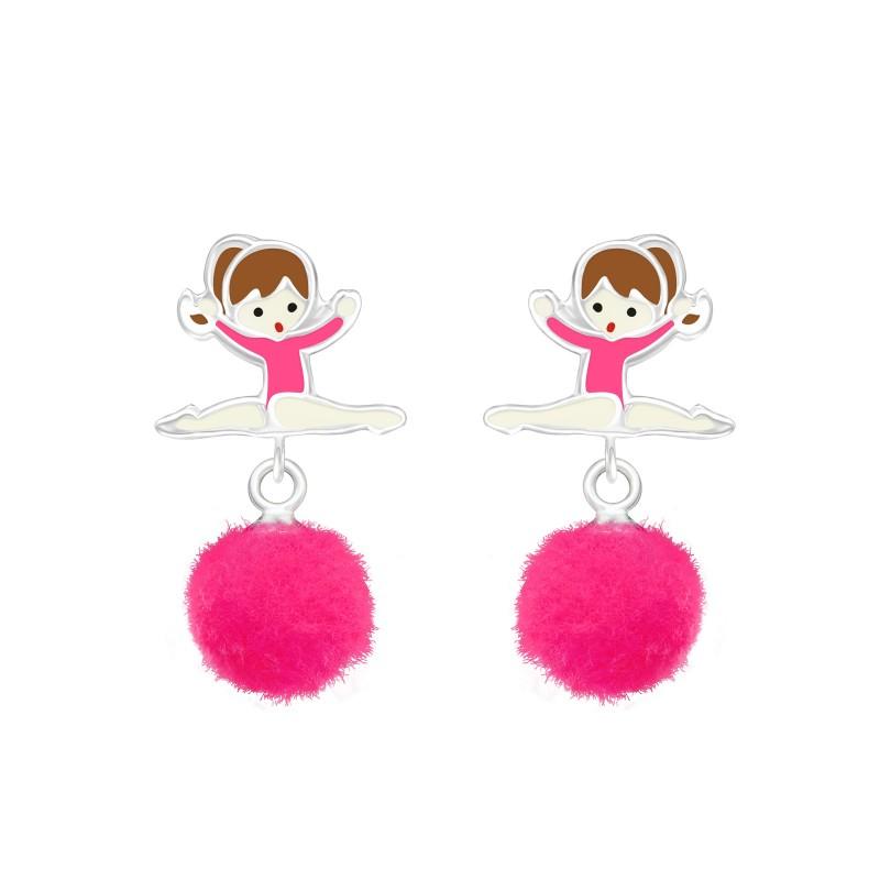 Ballerina with Pom Pom Earrings