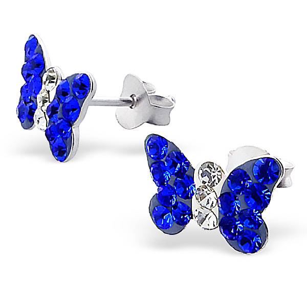 Blue Butterfly Crystal Ear Studs