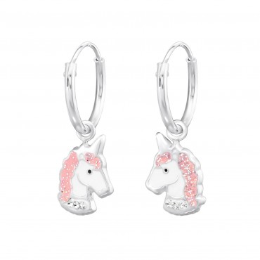 Rose Crystal Unicorn Hoops