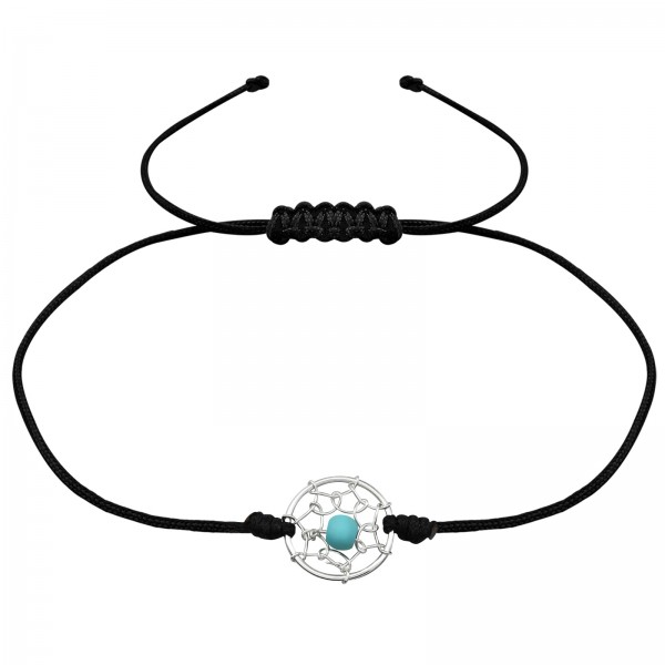Silver Corded Dreamcatcher Bracelet