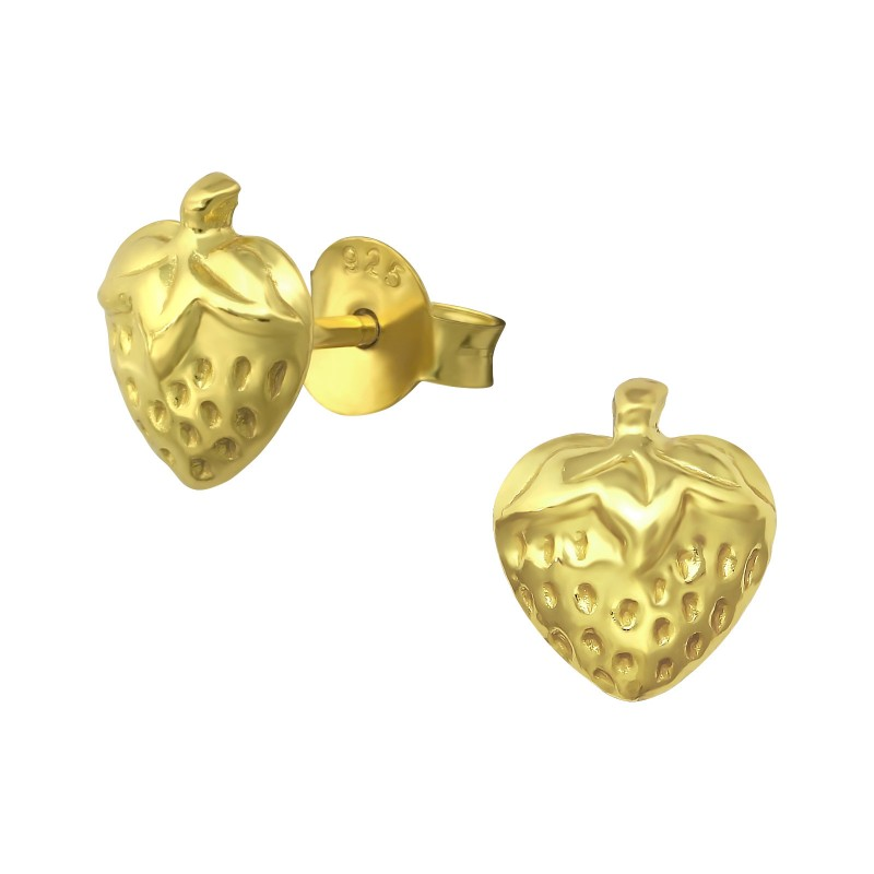 Gold Plated Strawberry Ear Studs
