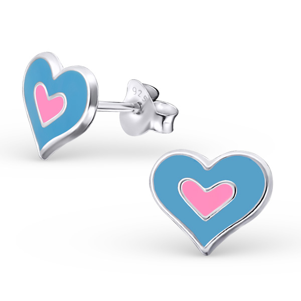 Blue Pink Heart Ear Studs