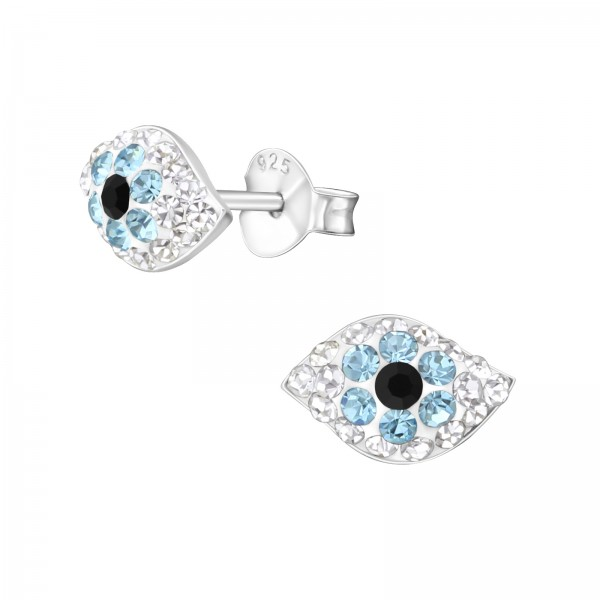 Crystal Evil Eye Ear Studs