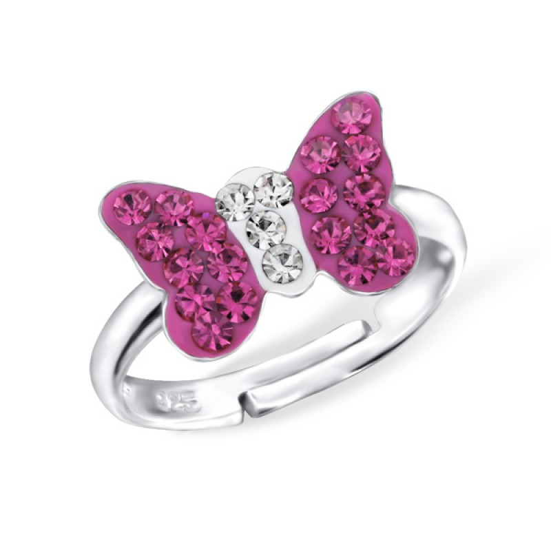 Fuschia Crystal Butterfly Ring