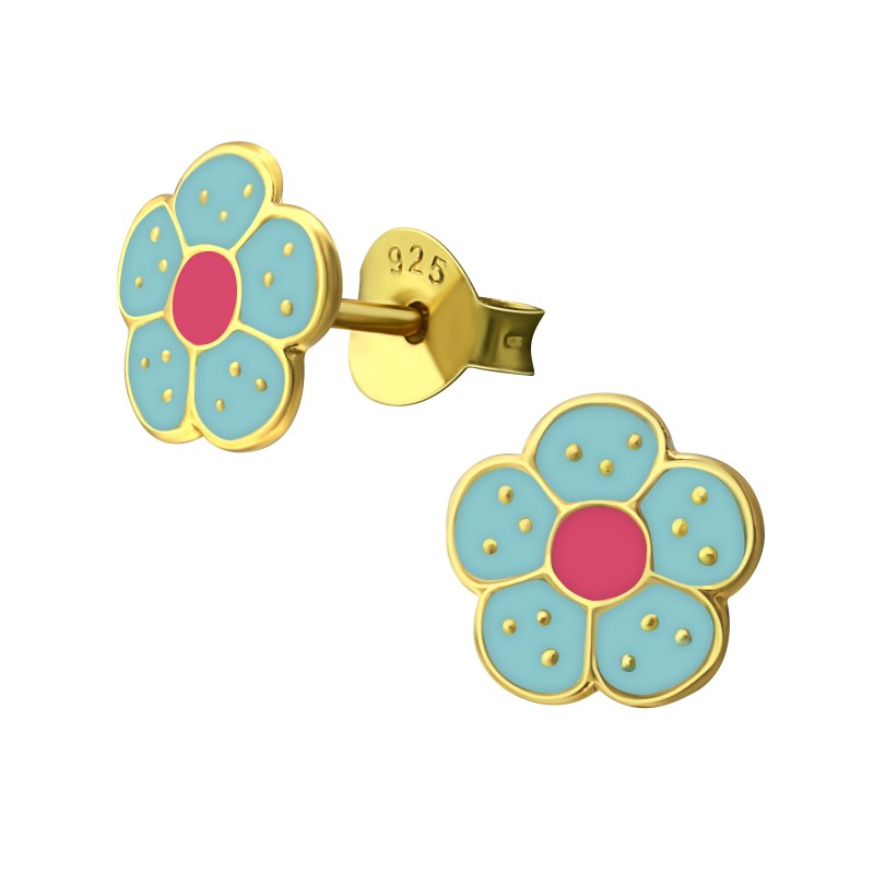 Gold Plated Blue Pink Flower Earrings