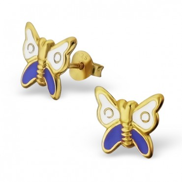 Gold Plated Butterfly Enamel Earrings