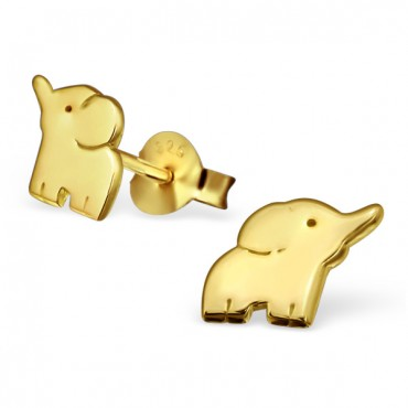 Gold Plated Elephant Ear Studs