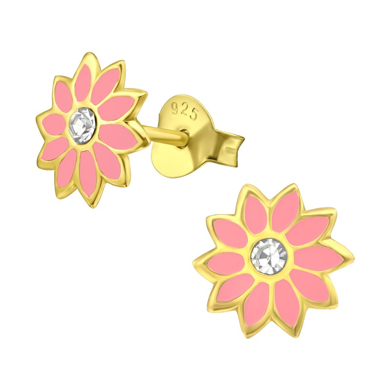 Gold Plated Pink Flower Ear Studs