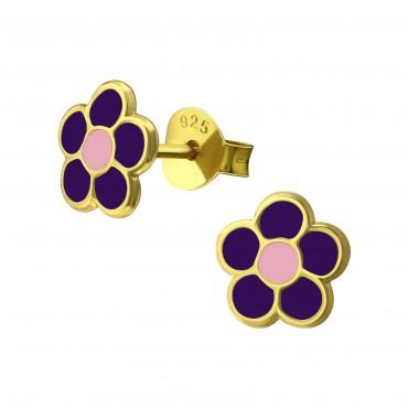 Gold Plated Purple Pink Flower Earrings