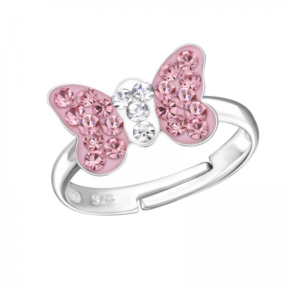 Pink Butterfly Crystal Ring