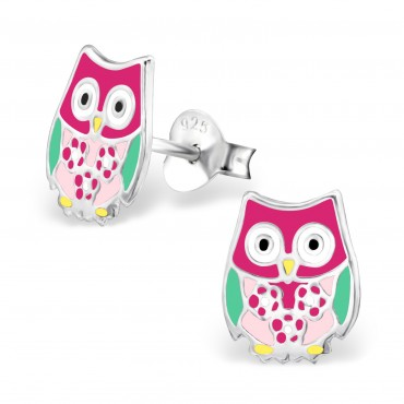 Pink Green Owl Ear Studs