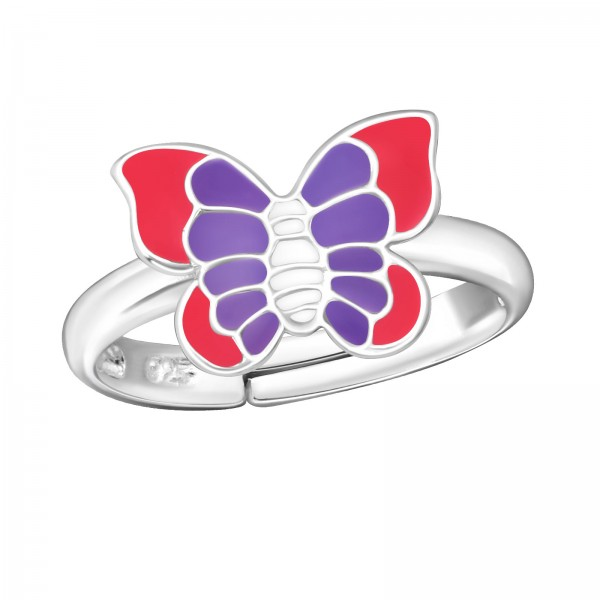 Pink Purple Butterfly Ring